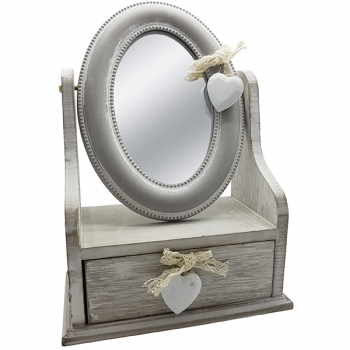 קופסת תכשיטים גדולה מעץ עם מראה אובלית ומגירה