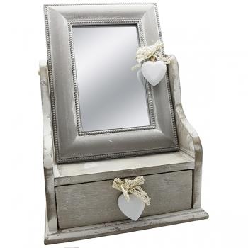קופסת תכשיטים גדולה מעץ עם מראה מלבנית ומגירה