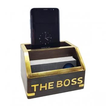 מעמד כפול לכרטיסי ביקור+נייד THE BOSS עשוי שילוב עץ ונחושת BRASS