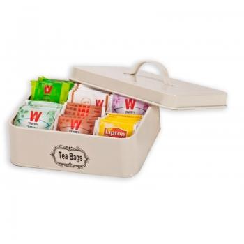 קופסת אחסון ממתכת לשקיות תה