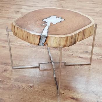 שולחן עץ מלא דקור אלומיניום