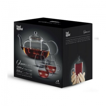 """קנקן תה זכוכית 1.5 ליטר + 4 ספלי זכוכית 350 מ""""ל דגם IND"""