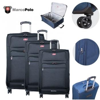 סט 3 מזוודות PROLIGHT מבית MARCO POLO בצבע שחור