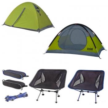2 כסאות מתקפלים+ אוהל זוגי